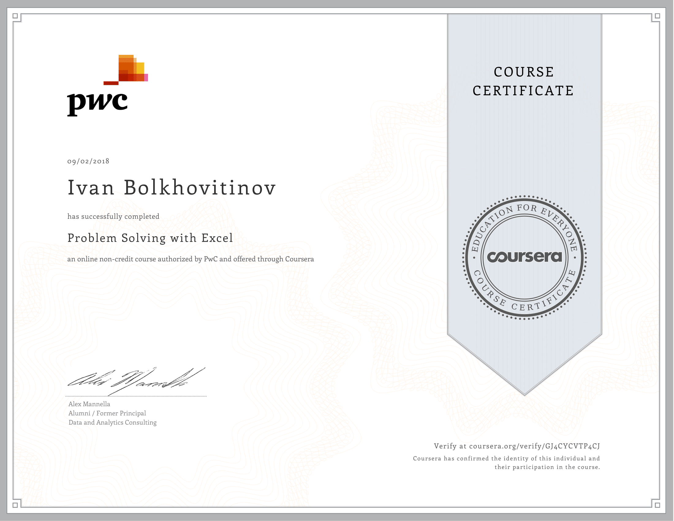 Coursera - PwC - Problem Solving with Excel