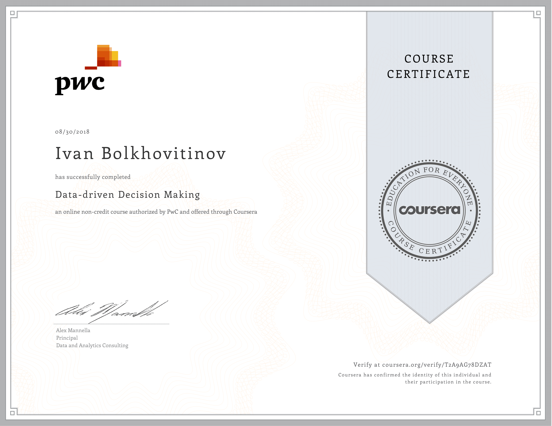 Coursera - PwC - Data-driven Decision Making